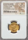 Ancients:Byzantine, Ancients: Heraclius (AD 610-641). AV solidus (4.40 gm). NGC MS 5/5- 3/5, clipped....