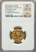 Ancients:Byzantine, Ancients: Maurice Tiberius (AD 582-602). AV solidus (4.35 gm). NGCMS 4/5 - 3/5, clipped, scratches.  ...
