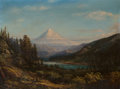 Fine Art - Painting, American, William Keith (American, 1839-1911). Mount Hood from the Banksof Little Sandy River, 1869. Oil on canvas. 24 x 32 inche...
