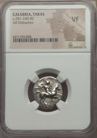 Ancients: CALABRIA. Tarentum. Ca. 272-240 BC. AR stater or didrachm. NGC VF