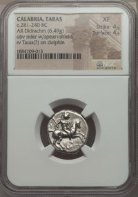Ancients: CALABRIA. Tarentum. Ca. 272-240 BC. AR stater or didrachm (6.49 gm). NGC XF 4/5 - 4/5