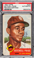 Baseball Cards:Singles (1950-1959), Signed 1953 Topps Satchell Paige #220 PSA/DNA Authentic....