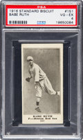 Baseball Cards:Singles (Pre-1930), 1916 D350 Standard Biscuit Babe Ruth #151 Rookie PSA VG-EX 4....