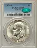 Eisenhower Dollars, 1974-S $1 Silver MS68 PCGS. CAC. PCGS Population: (1206/3). NGC Census: (218/1). Mintage 1,900,156....