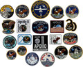 """Explorers:Space Exploration, Apollo 11 Collection of Twenty-one Embroidered Patches includingRare 5½"""" Hornet Example. ..."""