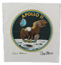 Explorers:Space Exploration, Apollo 11 Large Beta Cloth Mission Insignia Signed by MichaelCollins and Buzz Aldrin, includes Novaspace COAs with Photograph...