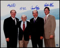 Autographs:Photos, 2000's Hall of Fame Catchers Multi-Signed Oversized Photograph -Carter, Berra, Bench & Fisk. ...