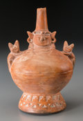 Pre-Columbian:Ceramics, A Lambayeque Pottery Vessel with Strap Handle...
