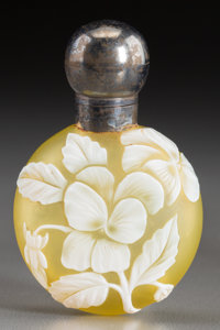 Thomas Webb & Sons White Overlay Yellow Glass Pansy Perfume Vial with Silver Mounts<