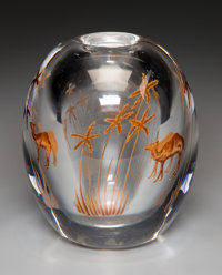 Edward Hald for Orrefors Camel Oasis Graal Glass Vase Circa 1917. Engraved to the
