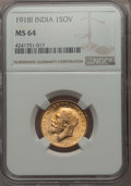 India:British India, India: British India. George V gold Sovereign 1918-I MS64 NGC,...