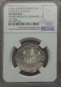 Mexico, Mexico: Carlos & Joanna 4 Reales ND (1542-55) AU Details(Environmental Damage) NGC,...