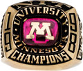 Basketball Collectibles:Others, 1998 Minnesota Golden Gophers NIT Championship Ring Presented toClem Haskins. ...