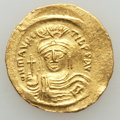 Ancients:Byzantine, Ancients: Maurice Tiberius (AD 582-602). AV solidus (4.49 gm). AU,scuff....