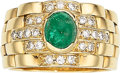 Estate Jewelry:Rings, Gentleman's Emerald, Diamond, Gold Ring. ...