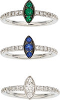Estate Jewelry:Rings, Diamond, Emerald, Sapphire, White Gold Rings. ... (Total: 3 Items)
