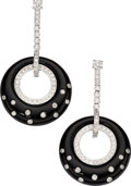 Estate Jewelry:Earrings, Diamond, Black Onyx, White Gold Earrings, Eli Frei. ...