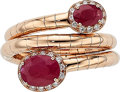 Estate Jewelry:Rings, Ruby, Diamond, Rose Gold Ring. ...