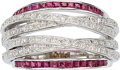 Estate Jewelry:Rings, Diamond, Ruby, White Gold Ring, Michael Christoff. ...