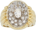 Estate Jewelry:Rings, Diamond, Gold Ring The ring features an oval-s...