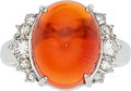 Estate Jewelry:Rings, Fire Opal, Diamond, Platinum Ring. ...