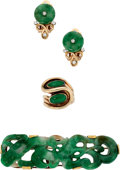 Estate Jewelry:Suites, Jadeite Jade, Diamond, Gold Jewelry Suite. ... (Total: 3 Items)