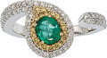 Estate Jewelry:Rings, Emerald, Colored Diamond, Diamond, White Gold Ring. ...