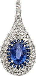 Estate Jewelry:Pendants and Lockets, Sapphire, Diamond, White Gold Pendant . ...