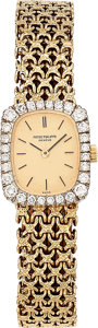 Estate Jewelry:Watches, Patek Philippe Lady's Diamond, Gold Watch. ...