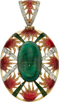Estate Jewelry:Pendants and Lockets, Emerald, Diamond, Enamel, Gold Pendant-Necklace. ...