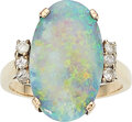 Estate Jewelry:Rings, Opal, Diamond, Gold Ring The ring features an ...
