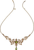 Estate Jewelry:Necklaces, Antique Peridot, Pearl, Gold Necklace. ...