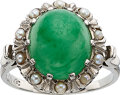 Estate Jewelry:Rings, Jadeite Jade, Seed Pearl, Palladium Ring. ...