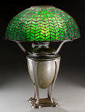 Art Glass:Tiffany , Tiffany Studios Green Favrile Glass and Bronze HerringboneOil Table Lamp. On Greek Urn base. Unmodified fro... (Total:2 Items)