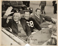 Football Collectibles:Photos, 1950 Jim Thorpe Signed Original News Photograph - Pictured with Nevers and Warner. ...