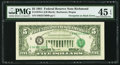 Error Notes:Third Printing on Reverse, Third Printing on Back Error Fr. 1976-E $5 1981 Federal Reserve Note. PMG Choice Extremely Fine 45 EPQ.. ...