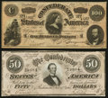 Confederate Notes:1864 Issues, T65 $100 1864;. T66 $50 1864.. ... (Total: 2 notes)