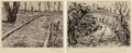 Prints & Multiples, William Kentridge (b. 1955). Landscape, Bocce and Landscape (Overgrown road), (two works), 1999. Drypoint on wove pa... (Total: 2 Items)