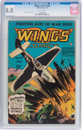 Golden Age (1938-1955):War, Wings Comics #65 (Fiction House, 1946) CGC VF 8.0 Off-whitepages....