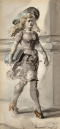 Fine Art - Work on Paper:Watercolor, Reginald Marsh (American, 1898-1954). Woman with Blue Hat,1945. Watercolor on paper. 12-5/8 x 6-1/4 inches (32.1 x 15.9...(Total: 2 Items)