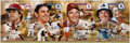Baseball Collectibles:Photos, 2004 Hall of Fame Catchers Bench, Berra, Carter and Fisk Multi-Signed Oversized Poster....