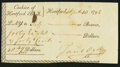 Colonial Notes:Connecticut, Jacob Ogden Signed Cashier of Hartford Bank Check April 10, 1795Extremely Fine-About New.. ...