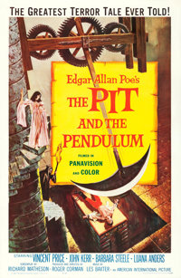 """The Pit and the Pendulum (American International, 1961). One Sheet (27"""" X 41"""") Reynold Brown Artwork"""