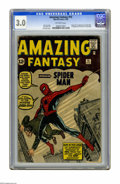 Silver Age (1956-1969):Superhero, Amazing Fantasy #15 (Marvel, 1962) CGC GD/VG 3.0 Off-white pages. The key issue of all Marvel key issues: Origin and first a...