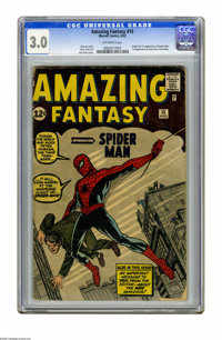Amazing Fantasy #15 (Marvel, 1962) CGC GD/VG 3.0 Off-white pages. The key issue of all Marvel key issues: Origin and fir...