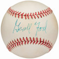 Autographs:Baseballs, Gerald Ford Single Signed Baseball. ...
