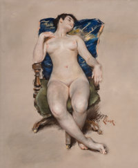 William Merritt Chase (American, 1849-1916) Untitled (Nude Resting in a Chair), circa 1888 Pastel on