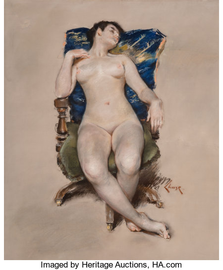 William Merritt Chase (American, 1849-1916) Untitled (Nude Resting in a Chair), circa 1888 Pastel on paper mounted on ...