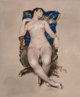 William Merritt Chase (American, 1849-1916) Untitled (Nude Resting in a Chair), circa 1888 Pastel on paper mounted on...