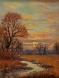 Fine Art - Painting, American, Rolla Sims Taylor (American, 1872-1970). Sunset over theCreek. Oil on board. 7-3/4 x 6 inches (19.7 x 15.2 cm). Signed...